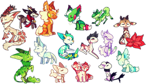 look at all of these chibis by sablepuss