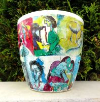 Pablo Picasso unique flower pot by naraosart