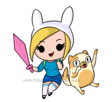 Fionna and Cake Chibi by Fi3ndish