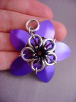 Purple Scalemaille Flower by monsterkookies