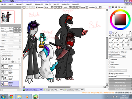 Hallowe'en project W.I.P - Kyoki and Reaper by Kendulun-the-Kihoryu