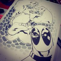 Hulk vs Deadpool SDCC'15 Commission by edwinhuang