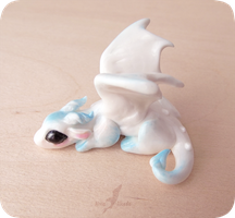 White snow baby dragon  miniature by AlviaAlcedo