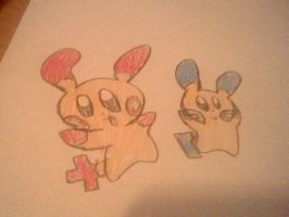 Plusle and Minun by GamingDylan