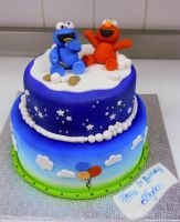 Elmo and cookie monster cake by buttercreamfantasies