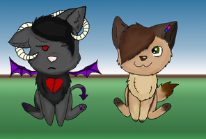 Con.Price:Chibi Demony and Jay by ObscureNightmares