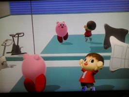 Stretching with Kirby and Villager by Rotommowtom