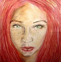 Oil pastel sketch # 33: Ginger Girl by CpointSpoint