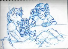 Ronnie and Devon and Baby: Bathtime (sketch) by RuntyTiger