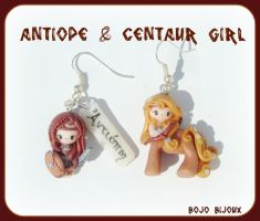 Antiope and Centaur Earrings by Bojo-Bijoux