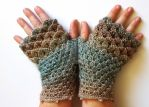 Golden Pines Dragon Gloves by FearlessFibreArts