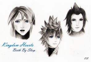 Aqua, Ventus and Terra sketch! :) by Cate397