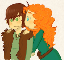 Hiccup and Merida by sailor663