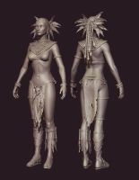 Diablo III Witch Doctor Without mask by Azraele