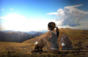 The Young Lady and the Mountain by AlexFly