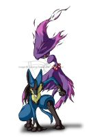 Pokemon: Mismagius and Lucario by crystal-rex