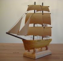 Hand Carved, Hand Made Brig - Model Sailing Ship by mferraton