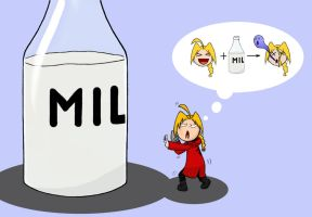 Edward Elric and milk by Pymeg