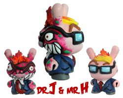 Dunny Monster : Hand Painted Dr. J / Mr. H by zombiemonkie