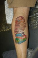 Owl and books tattoo by yayzus