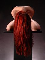 0788-MAK Long Red Hair Woman Kneeling on Pedestal by artonline
