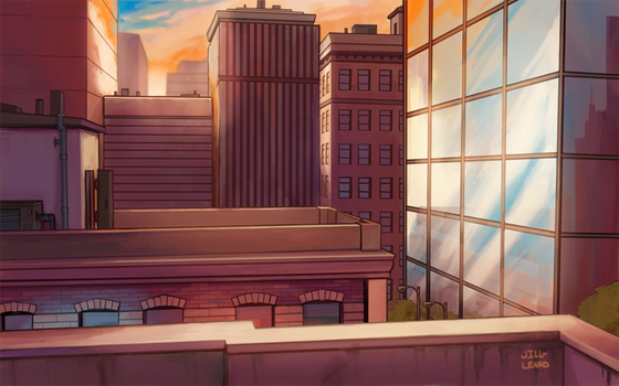 Commission- Rooftop Escape by JillLenaD