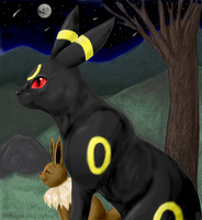 Umbreon and Eevee Before Dawn by PacificPikachu