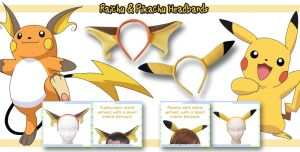 Pikachu and Raichu Headbands by AnimeNomNoms