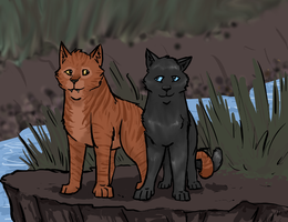 Shimmerpelt and Piketooth by Warriors-horse