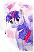 Twilight Sparkle Watercolor by brandimillerart