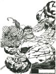 Wolverage and Spider-Hulk Attacking Red Hulk by Stonegate