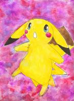 Watercolor Pikachu by OrcaCookie