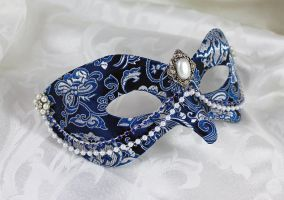 Royal Blue and Silver Brocade Mask With Pearls by DaraGallery