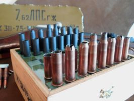 7.62x54r Mosin Nagant inspired spam can Chess set by SunsetsWorkshop