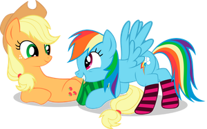 Applejack, Rainbow Dash and socks by AweRanger