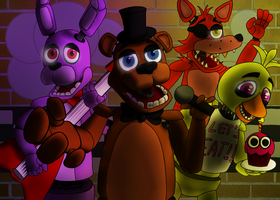 Freddy and the Fazbear Band - Wallpaper by Were-Felidae