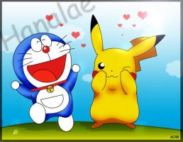 doraemon and pikachu by artchaosnb