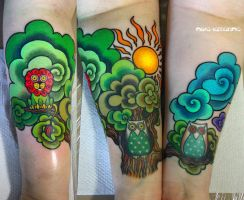 cartoon world tattoo by NikaSamarina
