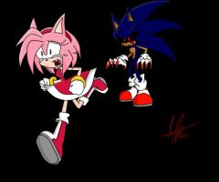Amy and sonic exe. by Mellissafox9