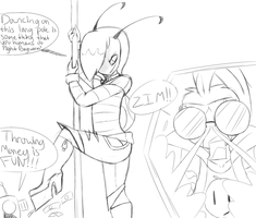IZ headcanon ZADR: Zim the teaser - sketch doodle- by ReneesDetermination
