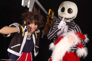 Sora + Jack + Sandy Claws by melissa-andrade
