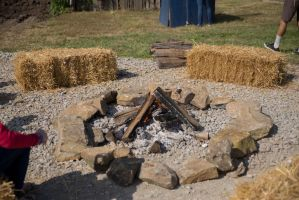 Fire Pit and Square Hay Bails by CarolineRutland