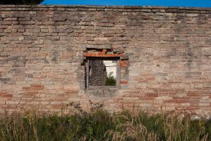 Brick wall with window by ManicHysteriaStock