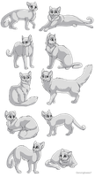 Cat linearts- 10 pack by DancingfoxesLF