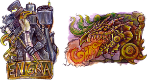 Themed conbadge::Steampunk by BonePileStudio