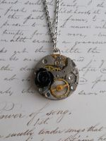 Steampunk necklace with black rose by SteamJo