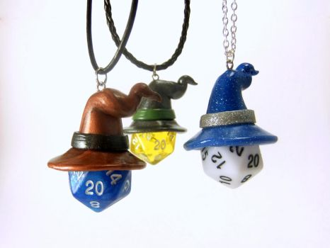 D20 Necklaces with Wizard Hats by Euphyley