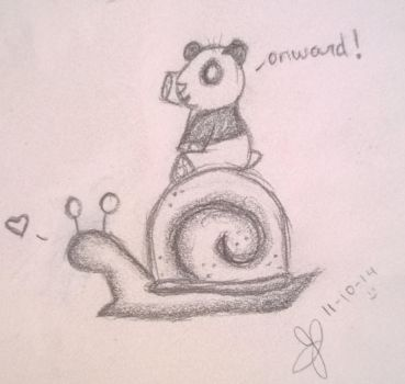 Panda Riding a Snail by YunikuSenshi
