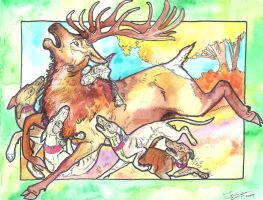staghounds and the red stag by jupiterjenny