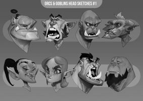 Orc and Goblin head sketches #1 by MaxGrecke